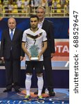 Small photo of Ali Asghar Hassanzadeh of Sanaye Giti Pasand grabs Most Valuable Player award (MVP) during AFC Futsal Club Championship Vietnam 2017 at Phu tho Stadium on July 30,2017 in Vietnam.