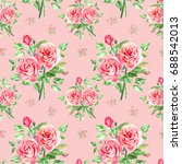 seamless watercolor pink roses... | Shutterstock . vector #688542013