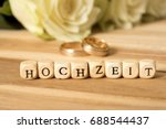 roses  wedding rings and the... | Shutterstock . vector #688544437