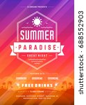 retro summer party design... | Shutterstock .eps vector #688552903