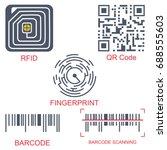 rfid tag  qr code  fingerprint... | Shutterstock .eps vector #688555603