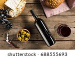 top view of bottle of red wine  ... | Shutterstock . vector #688555693