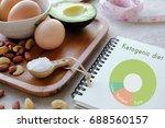 keto  ketogenic diet with... | Shutterstock . vector #688560157