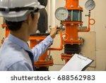 engineer checking condenser...   Shutterstock . vector #688562983