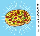 pizza vector illustration  hand ... | Shutterstock .eps vector #688565227