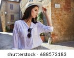 attractive woman tourist with... | Shutterstock . vector #688573183