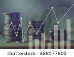 double exposure pile of coins... | Shutterstock . vector #688577803