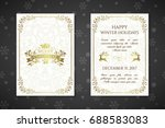 christmas posters with golden... | Shutterstock .eps vector #688583083