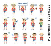 set of tourist characters... | Shutterstock .eps vector #688586113