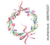 watercolor floral wreath | Shutterstock . vector #688596337
