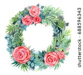 watercolor floral wreath | Shutterstock . vector #688596343