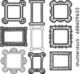 set of frames doodles black... | Shutterstock .eps vector #688609633