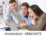 three excited employees... | Shutterstock . vector #688614073