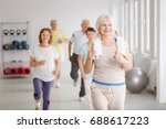 Small photo of Happy active seniors exercising together in white spacious room