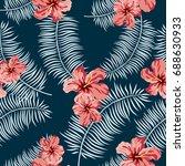 tropical exotic hibiscus flower ... | Shutterstock .eps vector #688630933