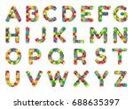 english puzzle alphabet. color... | Shutterstock .eps vector #688635397