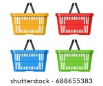 plastic basket set  3d... | Shutterstock . vector #688655383