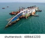 boat crashes in the sea  cruise ... | Shutterstock . vector #688661233