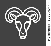 moutain goat face | Shutterstock .eps vector #688664047