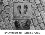 Small photo of TALLINN, ESTONIA - JULY 7, 2017: Footprints of Baltic Way, peaceful political demonstration in 1989. Two million people joined hands to form a human chain across the three Baltic states.