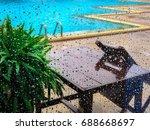 water blue rain drop glass... | Shutterstock . vector #688668697