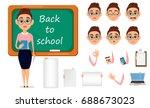 back to school. cute teacher...   Shutterstock .eps vector #688673023