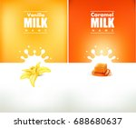milky splash with vanilla... | Shutterstock .eps vector #688680637
