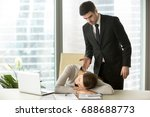 indignant angry boss caught... | Shutterstock . vector #688688773