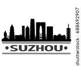 suzhou skyline silhouette city...   Shutterstock .eps vector #688692907