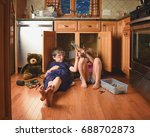 a team of two children are... | Shutterstock . vector #688702873