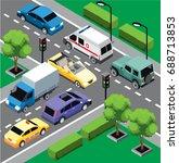 city traffic isometric concept... | Shutterstock .eps vector #688713853