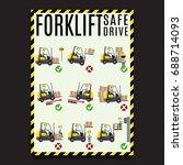 forklift safe drive set.... | Shutterstock .eps vector #688714093