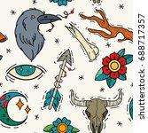 old school tattoos seamless... | Shutterstock .eps vector #688717357