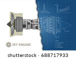 jet engine of airplane. outline ... | Shutterstock .eps vector #688717933