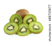 ripe kiwi isolated on white... | Shutterstock . vector #688725877