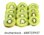 ripe kiwi isolated on white... | Shutterstock . vector #688725937