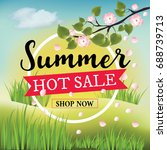 summer hot sale banner with... | Shutterstock . vector #688739713