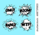 comic speech sound bubbles set... | Shutterstock .eps vector #688739803