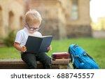 cute schoolboy studying...   Shutterstock . vector #688745557