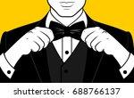 man hands adjusting bow tie | Shutterstock .eps vector #688766137
