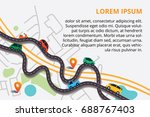 top view city map with winding... | Shutterstock .eps vector #688767403