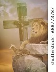 lamb of god lion and cross.... | Shutterstock . vector #688773787