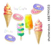 watercolor ice cream and donuts. | Shutterstock . vector #688799353