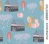 hand drawn various autumn... | Shutterstock .eps vector #688803763