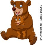 cartoon mother and baby brown... | Shutterstock .eps vector #688810657