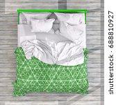 top view of bed room interior....   Shutterstock . vector #688810927