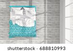 top view of bed room interior.... | Shutterstock . vector #688810993