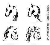 horse set  on white background  ... | Shutterstock .eps vector #688825003