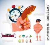 hand holding hotdog as penis... | Shutterstock .eps vector #688831357