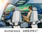 the simulator of a passenger... | Shutterstock . vector #688839817